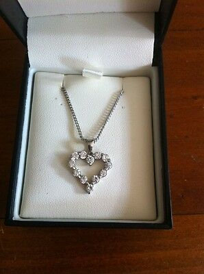 Genuine Sterling Silver 925 Cubic Zirconia Heart Pendant Plus Chain Necklace