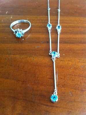 Genuine Sterling Silver 925 Blue Topaz Drop Chain Necklace Ring Set - Size 8.5