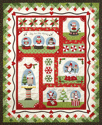 Snow Globe Village Quilt  6 Applique Piecing Patterns & Accessory Fabric Pack