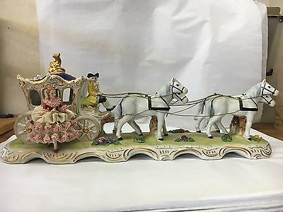 Vintage Dresden Porcelain Horse Drawn Carriage w/ Lace Figurine -Beautiful!