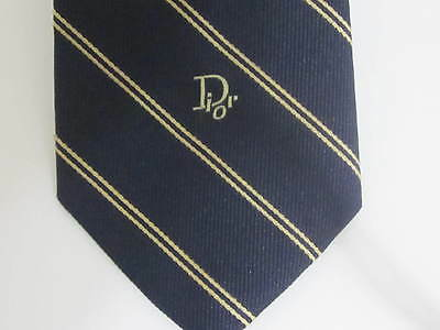 """Christian Dior 20% Silk Vintage Tie Made in U.S.A. 3"""" Wide Blue/Gold"""