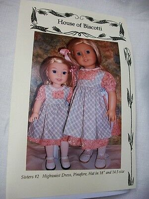 """Sisters #2 PATTERN for 18"""" and 14.5""""  Wellie Wishers, Pinafores, Sailor Dresses"""
