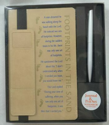 FOOTPRINTS IN THE SAND Journal and Pen Set with pouch (for pen)