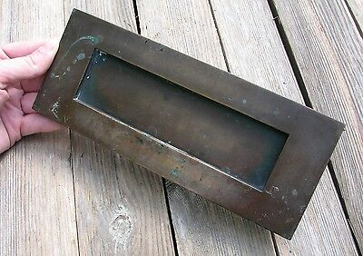 Old Solid Bronze / Brass Letter Box Plate / Door Mail Slot / Mailbox