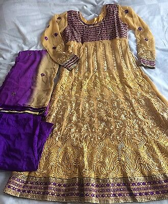 Purple And Gold/beige Churidar Suit indian Asian wedding party dress