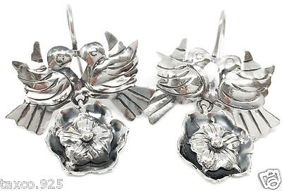 Frida Kahlo Style Taxco Mexican 925 Sterling Silver Bird Flower Earrings Mexico