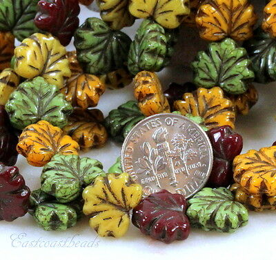 Maple Leaf Beads,13mm,Multi Colored w/Picasso Finish, Czech Glass Beads, 20 Pcs