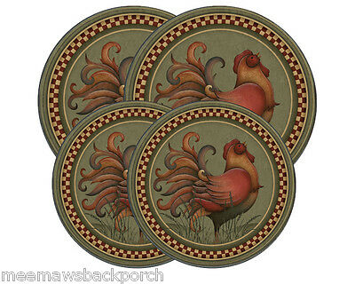 New Green Rooster Crow w Check Trim Round STOVE Eye Range Cook TOP BURNER COVERS
