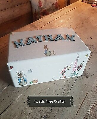 ♡Boy Girl PERSONALISED KEEPSAKE LARGE MEMORY WOODEN BOX Beatrix Potter Inspired♡