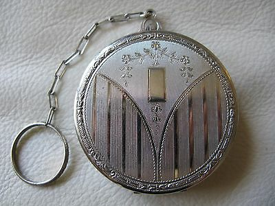 Antique Silver T Flower Engine Turned Pinstripe Finger Ring 2 Puff Dance Compact