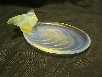 """Sabino France Pond W/ Bird Pin Dish Opalescent 5 1/2"""" Exc. Condition"""