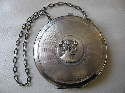 Antique Art Nouveau Deco Woman Silver Coin Holder Dance Purse Card Case Compact