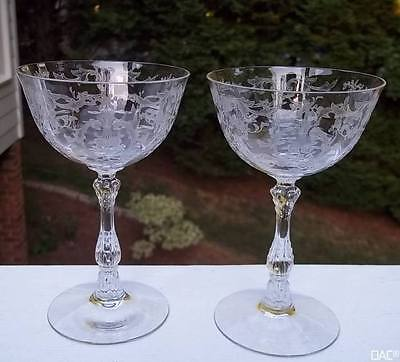 Two Fostoria NAVARRE Clear Crystal Champagne/Sherbet Goblets