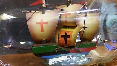 "Vintage 3 Mast Ship in a 7"" Cork Bottle Model with Rope"