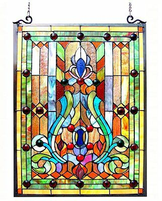 Tiffany Style Stained Glass Victorian Window Panel