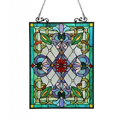 Tiffany Style Victorian Stained Glass Window Panel