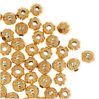 22K Gold Plated Fluted Round Metal Beads 3mm (100)