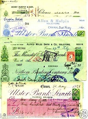 "Cheques..""l@@k"" Ireland..5 Old Irish Cheques..1926 - 1962"
