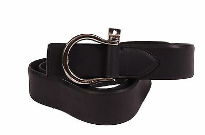 "KITON Napoli Black Equestrian Leather Belt 95 cm 38"" NEW With Box"