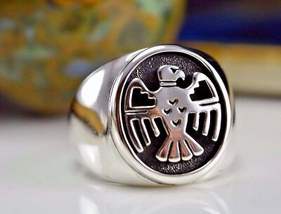 Sterling silver Navajo design shadowboxed Thunderbird ring Size - 7, or 8