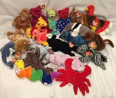 Huge Lot Of 20  Ty Beanie Babies , Rare, Retired