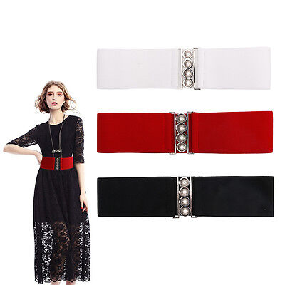 "Women's Fashion Elastic Cinch Belt 3"" Wide Stretch Slim Waist Band Clasp Buckle"