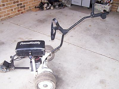 Powercaddy  Electric Golf Buggy with chair and umbrella stand