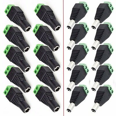20PCS Male Female 5.5*2.1mm DC Power Plug CCTV 12V Power Terminal Connector