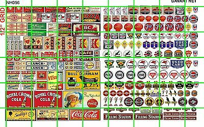 NH056 1/2 Set N SCALE VINTAGE CAFE ASSORTED SMALL GAS/OIL AD SIGNS DAVE'S DECALS