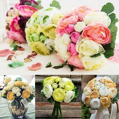 9 Head Artificial Flower Silk Peony Wedding Flowers Bouquet Wedding Bridal Decor