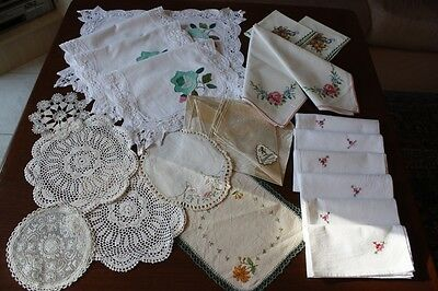 Vintage Linen, Crocheted & Embroidered Doilies / Placemats + Serviettes #223
