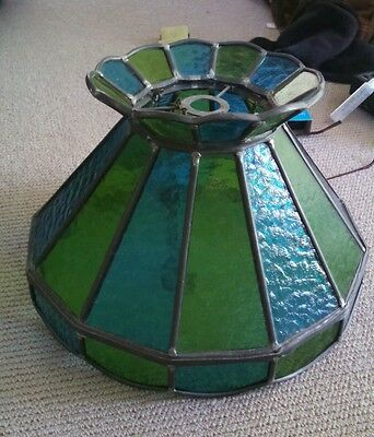 LEADLIGHT STAINED GLASS LIGHT  SHADE Large VGC