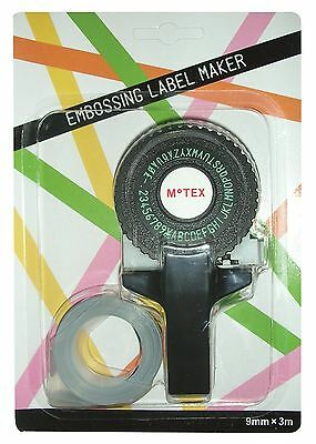 Black Motex E101 Embossing Tape Gun With 1 Roll Of Tape Compact And Portable New