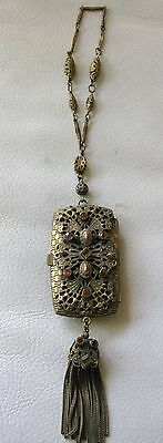 Antique Victorian Amber Jewel Filigree Bar Chain Coin Holder Dance Purse Compact