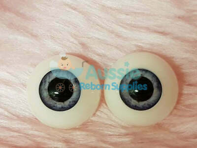 Reborn Baby Round Acrylic Eyes 22mm Blue Grey Large Pupil Doll Making Supplies