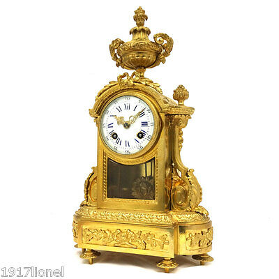 French Antique 19th - AD MOUGIN GILT BRONZE MANTLE STRIKING CLOCK c1880
