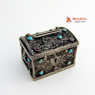 Antique Miniature Filigree Treasure Chest Coin Silver Gemstones1890