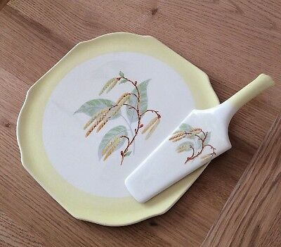 "🌈Rare Lord Nelson Pottery Ware Cake Plate & Server ""Catkins"" Design"