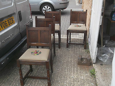 set of 4 antique period style dining chairs gothic  style back panels now £36