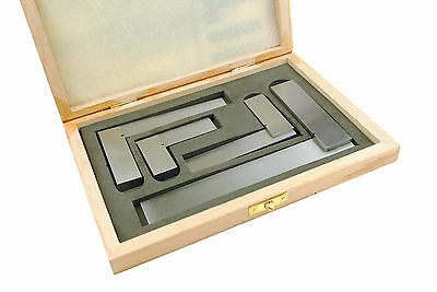 "Proops Set x 4 Engineers Squares Square in Wooden Display Box 2"" 3"" 4"" 6"" M9114"