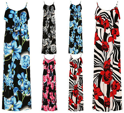Women Sleeveless Strappy Stretch Top Ladies Frill Floral Print Design Maxi Dress