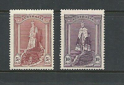 1937 King George VI SG176a & SG177 5s Purple & 10s Purple  Mint Hinged AUSTRALIA