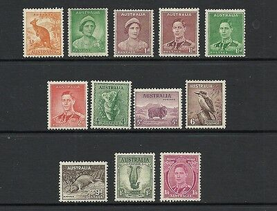 1937 King George VI SG228 - SG175 Short Set to 1/4 Mauve Mint Hinged AUSTRALIA