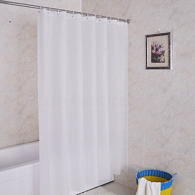 Bathroom Fabric Shower Curtain Plain White Wide Long Standard With Hooks Ring