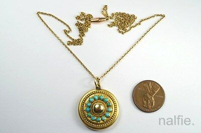 ANTIQUE ENGLISH 18ct GOLD TURQUOISE LOCKET PENDANT w/ FINE CHAIN NECKLACE