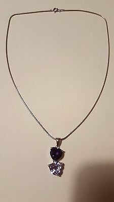 925 Sterling Silver Beautiful Purple Double Heart Pendant & Chain - Stamped