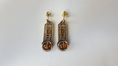 VINTAGE MIRACLE Gold & Silver Tone DROP/DANGLE CELTIC DESIGN EARRINGS - SIGNED
