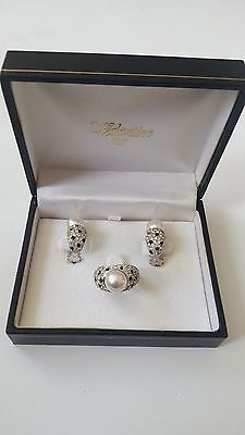 925 Silver 'airoldi' Italian Designer Ring & Earrings Set Boxed Fully Hallmarked