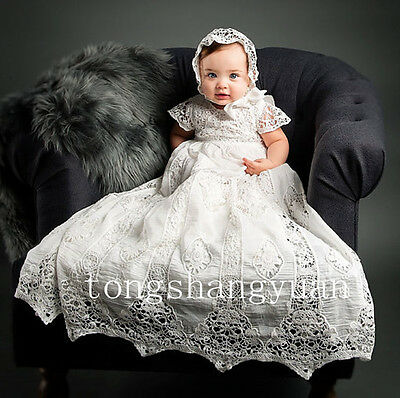 Baby Robe Baptism Outfits White Ivory Lace Christening Gowns +Bonnet  Custom New