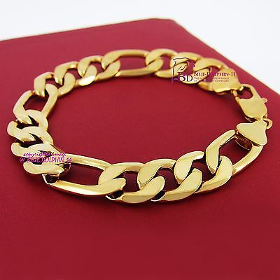 Mens Women Real Solid 9k Yellow Gold GF Figaro Bracelet Bangle Chunky Ring Chain